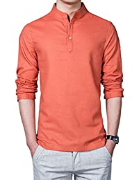 Zhuhaixmy Herren Pure Farbe Baumwolle Leinen Hemd Schlank Lange Ärmel  T-Shirt Jacke Tops Komfort 9a3ddb91e6