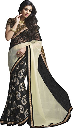 Mahotsav Women's Black Faux Chiffon and Net Patch Border Work Designer Party Wear Saree With Blouse  available at amazon for Rs.2095
