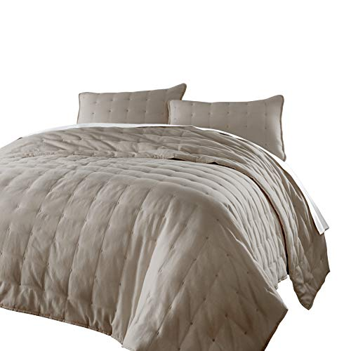 chezmoi Kollektion Riley 3 Stück getuftet Solides Wendbar 100% Baumwolle Soft-Finished Quilt Set Modern King Sand -