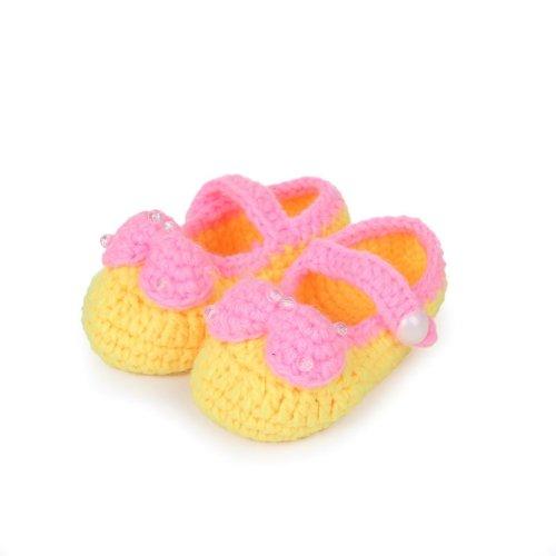 Bigood 0-6 Baby Krabbelschuhe Gestrickte Schuhe flauschige Baby-Unisex Länge 11 cm Panda Blau Schleife Gelb N