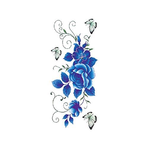 tzxdbh 7 Stücke-Blume Tattoo Aufkleber Damen Brust Bauch Kostüm Studio Rose Pfirsich Pfingstrose Tattoo Aufkleber TBX-9011 90 * 190 MM