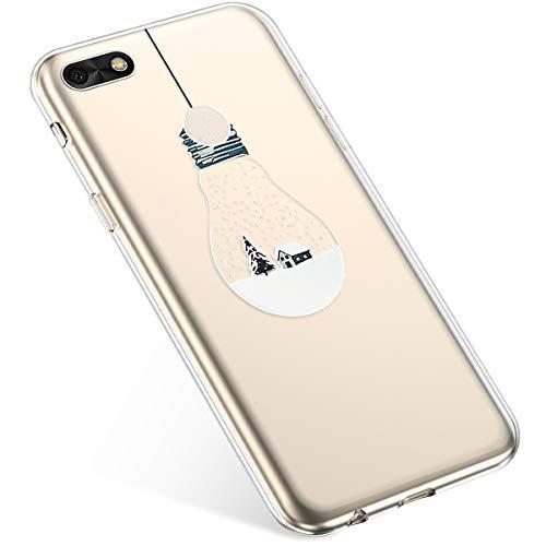 Uposao Handyhülle Huawei P9 Lite Mini Schutzhülle Silikon Transpatente Hülle mit Weihnachten Muster Durchsichtige Handytasche Ultra Dünn Weich TPU Bumper Case Backcover,Lichter
