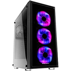 Mars Gaming MC7 - Caja de ordenador gaming (semitorre, ATX, incluye 3 ventiladores frontales RGB 120mm, VGA hasta 341mm, cristal templado, apta para refrigeración líquida), negro