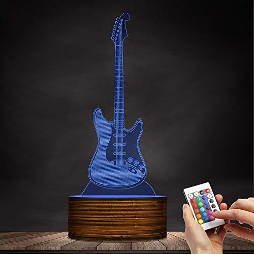 t Zeichen Musik Instrucment Nachtlichter Gitarrist Raumbeleuchtung Dekor Rock and Roll Geschenk Für Musikliebhaber ()