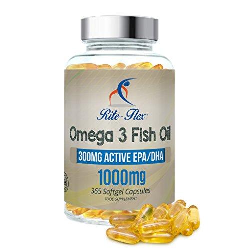 Omega 3 Olio di Pesce 1000mg 365 Gel Morbido Capsule da Rite Flex (1 Anno Alimentazione) Grassi Acidi Omega 3