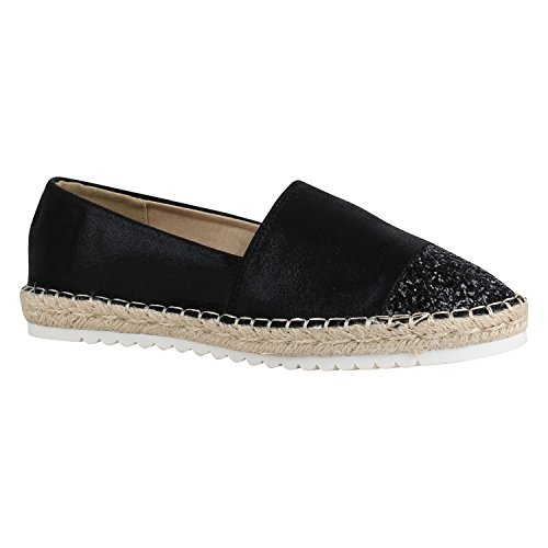 Damen Schuhe Lack Espadrilles Glitzer Slipper Flats Profilsohle 156206 Schwarz Glitzer 39 Flandell (Lack-espadrilles Schwarze)