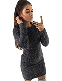 Vestidos mujer Mini vestido corto de manga larga mujeres sexy Vestido de fiesta Faldas Jerséis cálido