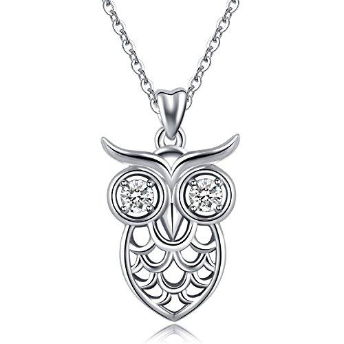 """Halsketten für Frauen, 925Sterling Silber Cute Eule """"Wise als Eulen"""" Anhänger Halskette, aeonslove Schmuck beste Geschenk für Tierliebhaber mit 18Rolo Kette"""
