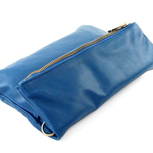 modamoda de - ital. Ledertasche Clutch Umhängetasche Unterarmtasche Klein Nappaleder T54 Signalblau