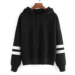 Rosennie Womens Tops,Long Sleeve Stripe Hoodie Sweatshirt,Hooded Pullover Sweater