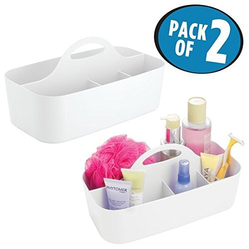 mDesign Bathroom Shower Caddy Tote for Shampoo, Soap, Lotion, Razors - Pack of 2, Medium, White