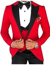 Solove-Suit Herrenanzug DREI Stück Slim Fit Kerbe Revers Bankett Hochzeit  Groomsmen Smoking (Blazer 020332714a