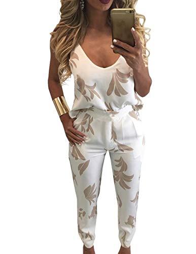 FANCYINN Damen Zweiteiler 2 Stück Outfits Floral Bedruckte Top Lange Hosen Bodycon Overall Set Khaki -
