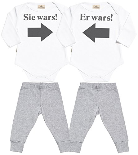Spoilt Rotten SR - Er Wars! Sie Wars! Baby Zwillinge Set - Weiß Baby Strampler & Grau Baby Jerseyhose - Baby Zwillinge Body & Baby Zwillinge Hosen Baby Zwillinge Outfit - 6-12 Monate