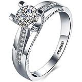 Skyllc® Plateado plata clásica Platino Mujeres boda y el anillo de compromiso