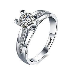 Idea Regalo - Skyllc® Classico argento platino placcato donne matrimonio e anello di fidanzamento