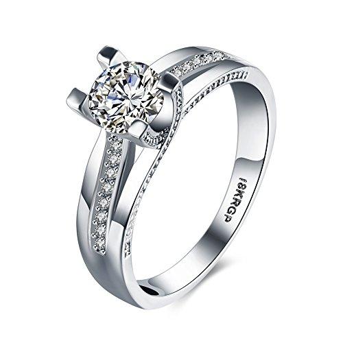 Skyllc® Classique Platinum Argent Plaqué femmes de mariage et bague de fiançailles