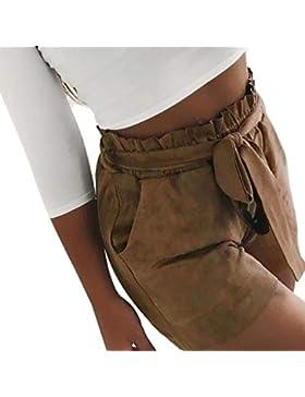Elecenty Pantaloncini donna estivi Fasciatura a vita alta tascabile da donna Pantaloni corti elastici facili casual...