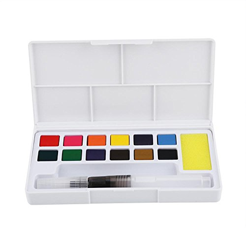 Aquarelle Paint Box, 12/18Farben tragbar massiv Wasser Farbe Paint Set Watercolor Pigment-Set mit Wasser Pinsel und Schwamm Schule Kunst Zeichnen Malen Supplies für Erwachsene und Kinder 12 colors (Palette Für Kinder Paint)