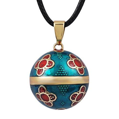 Eudora Boule Vintage Pendentif pour femme Fleur Jewelry Long Collier 114,3cm doux...
