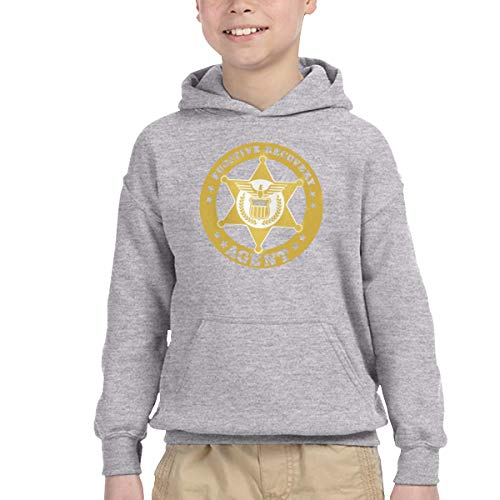 Youth Children's Pocket Hooded Sweatshirt Fugitive Recovery Agent 4 New Classic Minimalist Style Gray 2T - Agent Hooded Sweatshirt