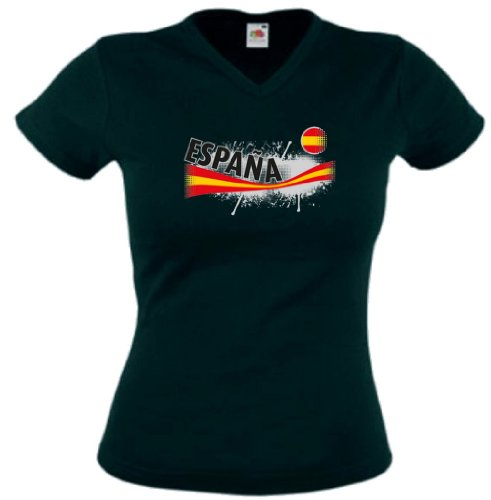 world-of-shirt Espana Damen T-Shirt Vintage Trikot|schwarz S (Spanien Fußball-herren V-neck)
