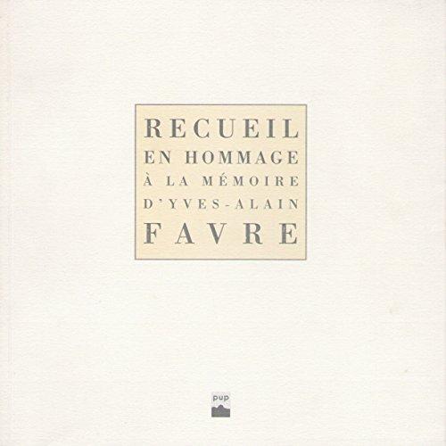 Recueil en hommage à la mémoire d'Yves-Alain Favre