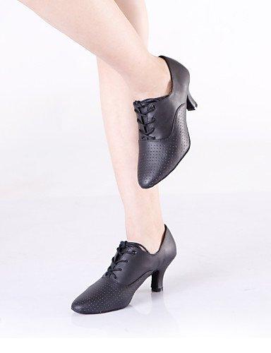 La mode moderne Non Sandales Chaussures de danse pour femmes personnalisables Amérique/Danse Sneakers Cuir noir talon Cubain US5/EU35/UK3/CN34