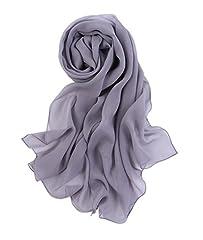 Idea Regalo - Prettystern - 176CM uni-Farbe tinta unita semplice scialle in seta pura sciarpa - Grau