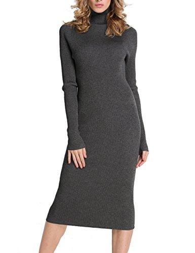 Rocorose Damen Gerippter Rollkragen Bleistift Midi Kleid Dunkelgrau XL (Stricken Gerippt, Rollkragen-pullover)
