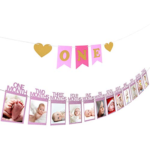 ZoomSky 2 Bilderrahmen Banner Set zum 1. Geburtstag, Baby 1-12 Monate Fotogirlanden und One Girlande mit Herz Wimpelkette aus Glitter Karte Papier fürBabydusche Party Deko, Kinderzimmer Foto Prop