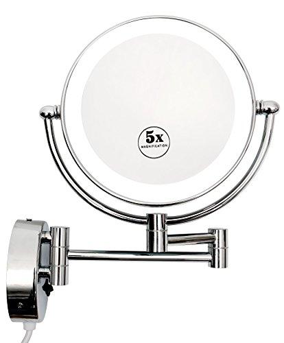 Kosmetikspiegel mit LED Beleuchtung Wandmontage Doppelseitig 1-/5-fach Vergrößerung Schminkspiegel...
