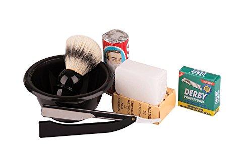 Fonex Rasurset: Rasierpinsel, Rasierseife, Blutstiller, Rasierschale, Rasiermesser mit Schiebefunktion und Klingen | Klassisches Herren Rasierset mit Schale für die Nassrasur als Geschenkset