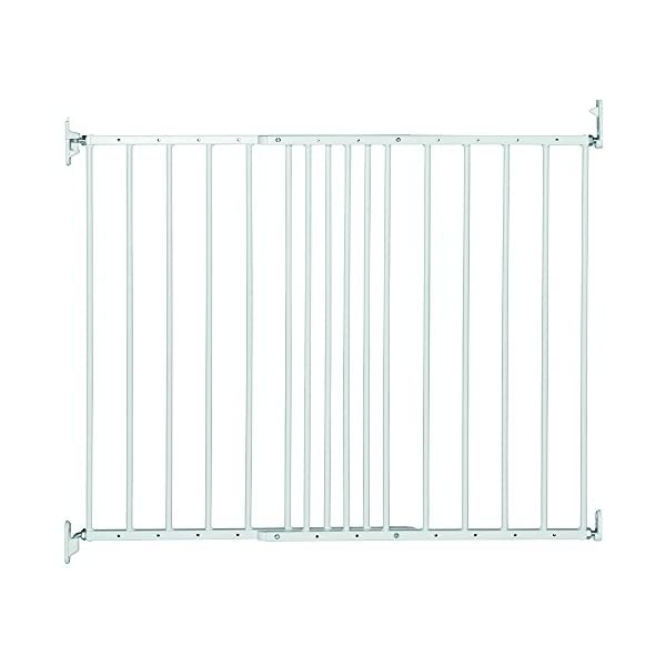 Safetots Extending Metal Gate, 62.5 to 106.8 cm, White Safetots Screw fitting white metal gate Two way opening. double locking mechanism. one handed operation Made up of two panels which are self expandable 1
