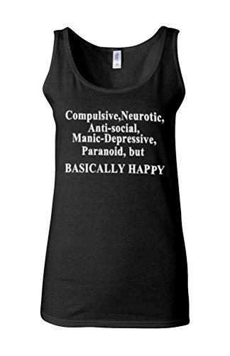 Basically Happy Sad Angry Emotion Novelty White Femme Women Tricot de Corps Tank Top Vest *Noir