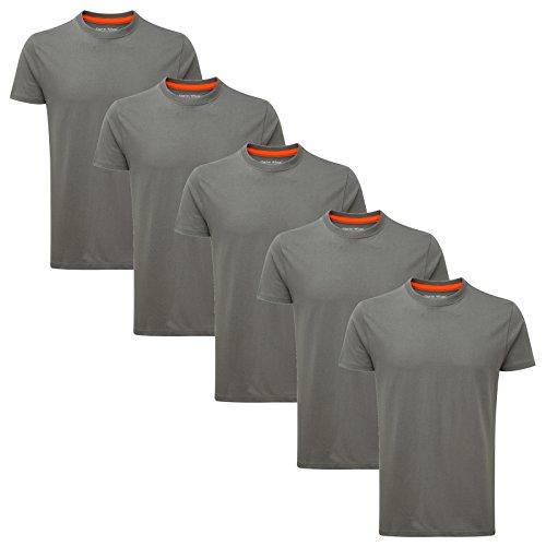 Charles Wilson 5er Packung Einfarbige T-Shirts mit Rundhalsausschnitt (XX-Large, Charcoal Type 19) (Herren Grau T-shirt)