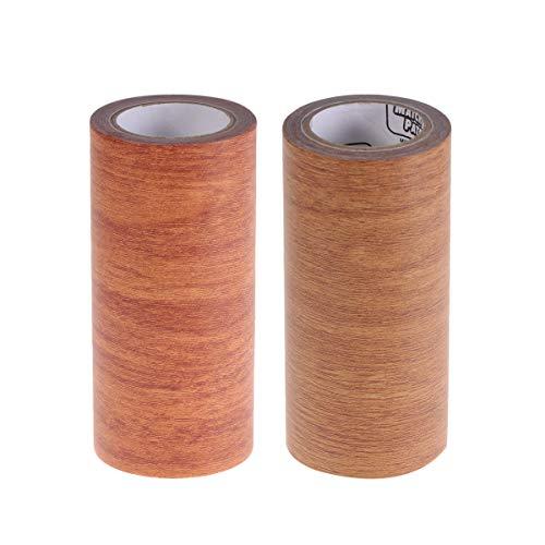 Vosarea 2 STÜCK Holzmaserband Reparatur Dekorationsklebeband für Tisch Stuhl Möbel Boden Fußleiste -