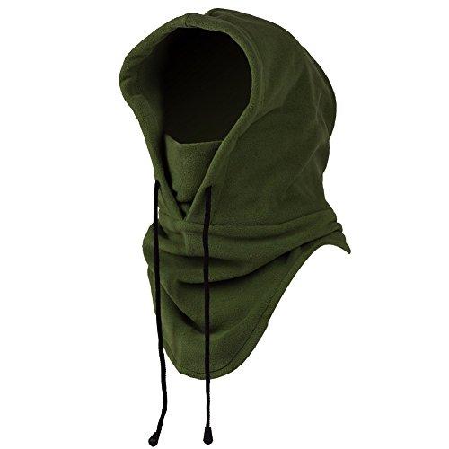 Mangotree 6 in 1 Winddichte Vollgesichtsmaske Unisex Tactical Heavyweight Sturmhaube Gesichtsmaske/Skimaske/Hooded Kopfhaube für Sport und Outdoor (A# Armee-grün)