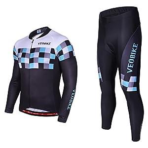 Asvert Malliot de Ciclismo Hombre 3D Cojín Conjunto Bicicleta de Montaña Ropa+Pantalones Culote de Ciclista Largo Transpirable y Elástico para Primavera y Verano (XL, Speed)