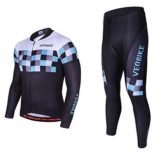 Asvert Malliot de Ciclismo Hombre 3D Cojín Conjunto Bicicleta de Montaña Ropa+Pantalones Culote de Ciclista Largo Transpirable y Elástico para Primavera y Verano (M, Speed)