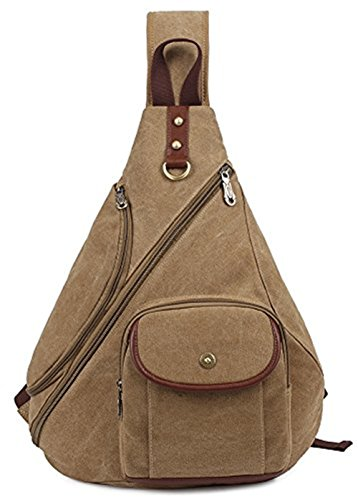 KAUKKO Modische Canvas Vintage Schultertasche Brusttasche für Herren Damen Wander Reise Outdoor Sling Bag Umhängetasche Khaki-1039 Khaki