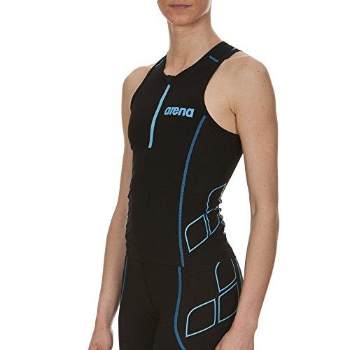 arena Damen Wettkampf Triathlon Oberteil Powerskin ST (Perfekte Kompression, Weniger Wasserwiderstand), Black-Turquoise (55), XS