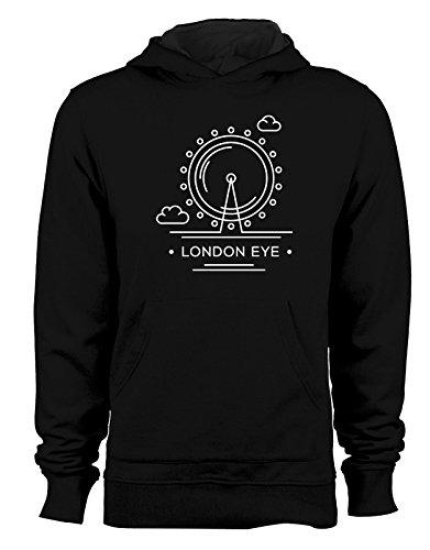 Felpa con cappuccio Città - Londra - London Eye - - Tutte le taglie Nero