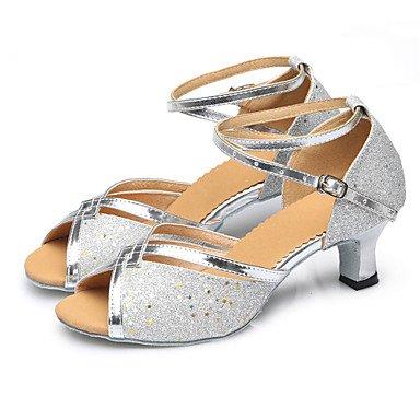 Ruhe @ Damen Dance Schuhe Bauch/Latin/Samba/Modern-/funkelnden Glitter/Pailletten/Synthetik kubanischen Ferse 3,5cm Absatzhöhe rot/silber/schwarz fuchsia