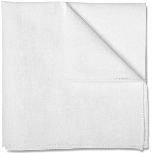 Puentes Denver Einstecktuch in reinem Weiß, Baumwolle von Hand genäht, Herren Taschentuch Einstecktücher (Weiß) (Smoking Baumwolle)