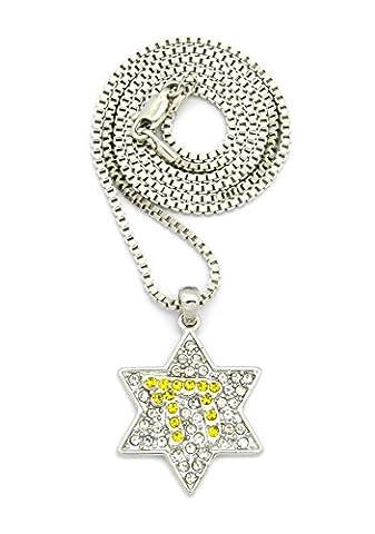 Superbe collier de ton argent à pendentif d'étoile Chai couverte
