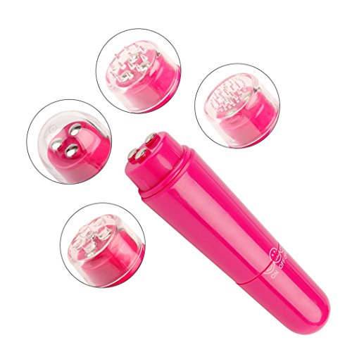 inkint Multifunktion Massage-Maschine mit 4 Massageköpfe Mini Elektrische Gesichtmassage für Schulter/Rücken/Gesicht/Auge Tragbare Dünne Massage-Stick-Gerät (Rot)