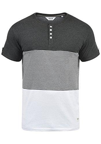 !Solid Marek Herren T-Shirt Kurzarm Shirt Streifenshirt Mit Streifen Und Grendad-Ausschnit, Größe:L, Farbe:Dark Grey Melange (8288) (T-shirt Streifen)