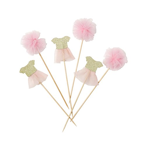 art Pink; Kuchenverzierung Ballettröckchen und Pompoms auf Cocktailstäbchen  für Kinderfeste und Geburtstagspartys, Pink und Gold (12 pro Pack) ()