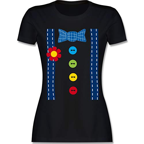 Karneval & Fasching - Clown Kostüm blau - XL - Schwarz - L191 - Damen Tshirt und Frauen T-Shirt - Erwachsene Clown-kostüm